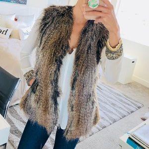 Via Spiga faux fur vest & Zara blouse